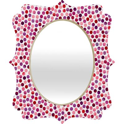 DENY Designs Garima Dhawan Watercolor Dots Berry Quatrefoil Mirror