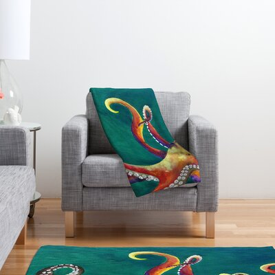 DENY Designs Clara Nilles Mardi Gras Octopus Polyester Fleece Throw Blanket