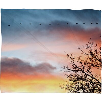 DENY Designs Bird Wanna Whistle Bird Line Polyester Fleece Throw Blanket