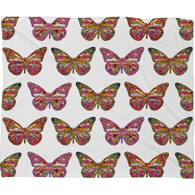 DENY Designs Bianca Green Butterflies Fly Polyester Fleece Throw Blanket