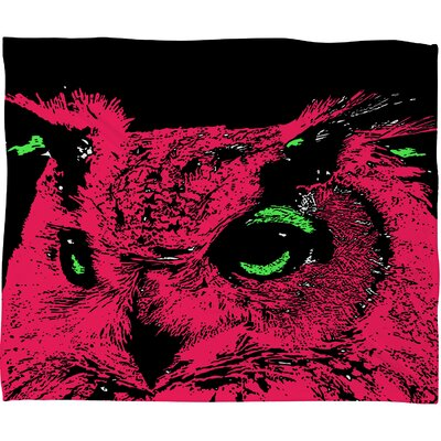 DENY Designs Romi Vega Pink Owl Polyester Fleece Throw Blanket