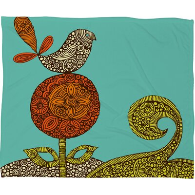 DENY Designs Valentina Ramos Bird in The Polyester Flower Fleece Throw Blanket