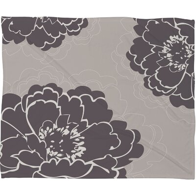 DENY Designs Caroline Okun Winter Peony Polyester Fleece Throw Blanket