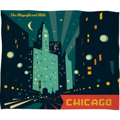 Anderson Design Group Chicago Mag Mile Polyester Fleece Throw Blanket