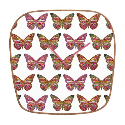 DENY Designs Bianca Green Butterflies Fly Clock
