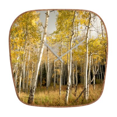 DENY Designs Bird Wanna Whistle Golden Aspen Wall Clock