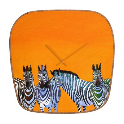 DENY Designs Clara Nilles Candy Stripe Zebras Wall Clock