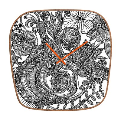 DENY Designs Valentina Ramos Bird in Flowers Black White Clock