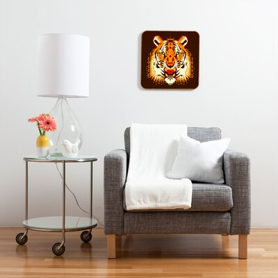 DENY Designs Geometric Tiger by Chobopop Framed Graphic Art Plaque