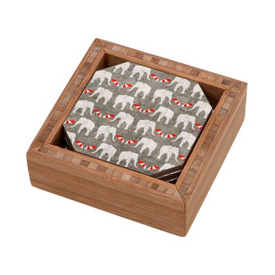DENY Designs Holli Zollinger Elephant and Umbrella Coaster