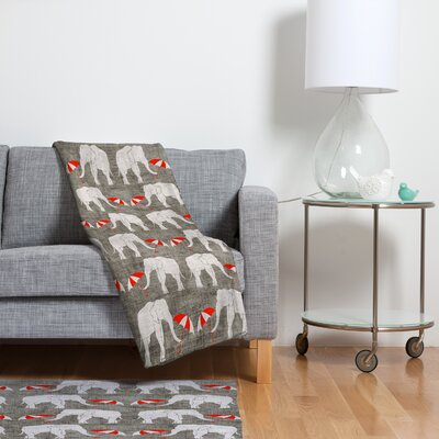 DENY Designs Holli Zollinger Elephant and Umbrella Polyesterrr Fleece Throw Blanket