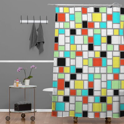 DENY Designs Jacqueline Maldonado Woven Polyester Geo Square Shower Curtain