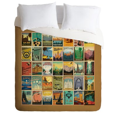 DENY Designs Anderson Design Group City Pattern Border Microfiber Duvet Cover