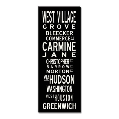Uptown Artworks West Village Textual Art on Canvas