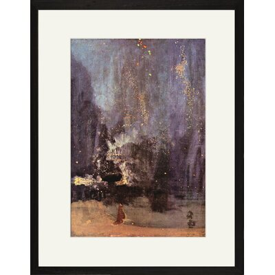 Buyenlarge Nocturne in Black and Gold, the Falling Rocket Framed and Matted Print