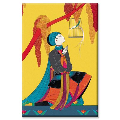 Bird and Kneeling Girl Canvas Wall Art