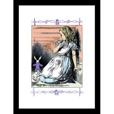 Alice in Wonderland Alice Watches The White Rabbit Framed and Matted Print