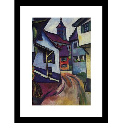 Street with a Church in Kinder Framed Painting Print
