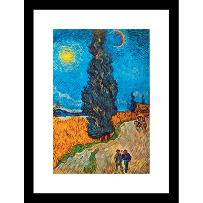 Road With Cypresses Framed Painting Print