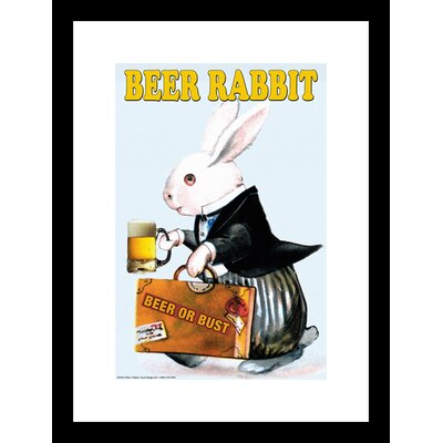 Beer Rabbit Framed and Matted Print