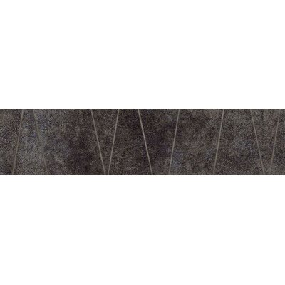 "Marca Corona Reactions 4"" x 4"" Porcelain Trama Bordo in Black (Set of 6)"