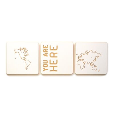 World Map 3 Tile Graphic Art Set