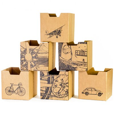 City Print Cardboard Cubby Bin (Set of 6)