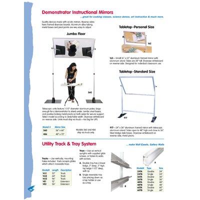 Testrite Demonstrator Instructional Mirror - Tabletop Standard Size 2' x 3' Glass Board