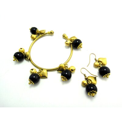 WNK International Goldtone Round Onyx Bracelet and Earrings Set