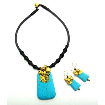 Goldtone Turquoise Necklace and Earrings Set