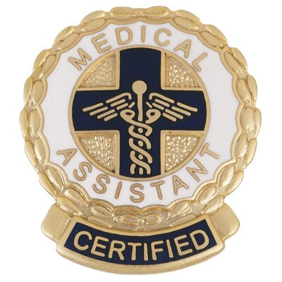 Prestige Medical Certified Medical Assitant Wreath Edge with Emblem Pin