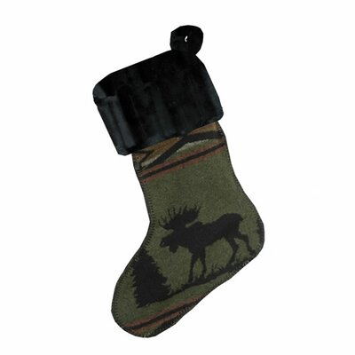 Wooded River Moose Christmas Stocking