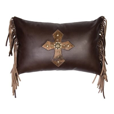 Accessory Pillows Leather Cross Antique Concho and Spots Pillow