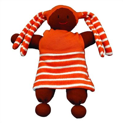 Challenge & Fun Keptin-Jr Organic Soft Girly African American Doll in Topaz Orange