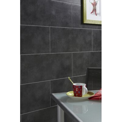 "Mats Inc. Dumalock 9-4/5"" x 47-1/5"" Matte Wall and Ceiling Tile in Dark Grey Concrete"