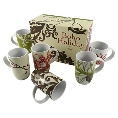 Rosanna Boho Barrel 10 oz Mug (Set of 6)