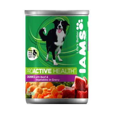 Iams ProActive Health Adult Wet Dog Food with Beef and Vegetables in Gravy (12.3-oz,case of 12)