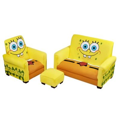 Harmony Kids Nickelodeon Sponge Bob Square Pants Deluxe Kid's Sofa, Chair and Ottoman Set