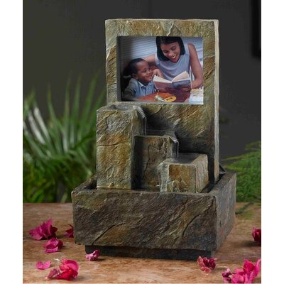 Polyresin and Fiberglass Tiered Photo Frame Tabletop Fountain