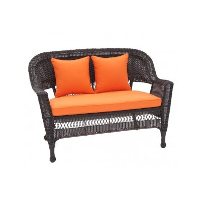 Wicker Lane 4 Piece Lounge Seating Group- Love Seat Cushions - Orange