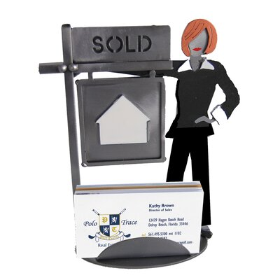 H & K SCULPTURES Desk Accessory Real Estate Female Business Card Holder