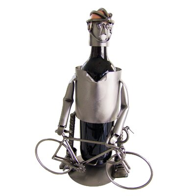 H & K SCULPTURES Bicycle Rider Male Wine Caddy