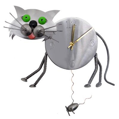 H & K SCULPTURES Cat Clock