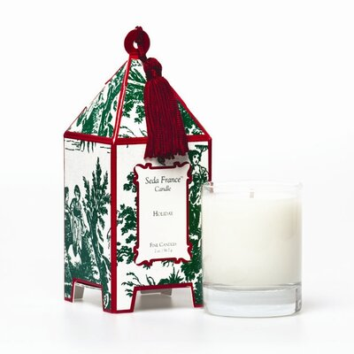 Seda France Classic Toile Holiday Pagoda Candle