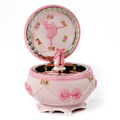 San Francisco Music Box Ballerina and Bows Hinged Trinket Box