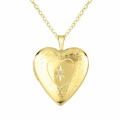 Momento Lockets 0.01 Carat Heart Shaped Locket with Diamond Necklace