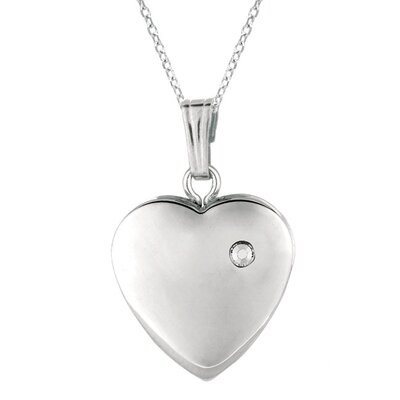 Momento Lockets Heart Shaped Locket with One Diamond Necklace