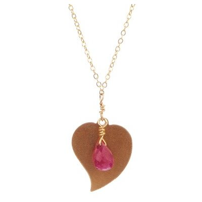 14k Gold Flat Heart Ruby Pendant Necklace