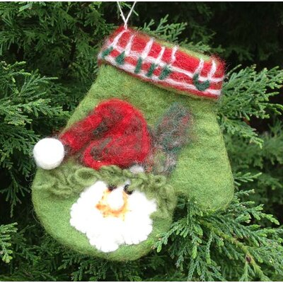 Mills Floral Felt Green Mitten with Santa Face