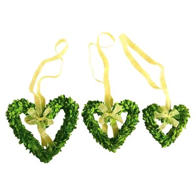<strong>Mills Floral</strong> Boxwood Wreath Set Hearts with Ribbon